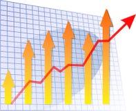 Freccia del diagramma a colonna in su Fotografie Stock
