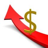 Freccia del dollaro Fotografia Stock
