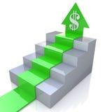 Freccia del dollaro di sopra Fotografie Stock Libere da Diritti
