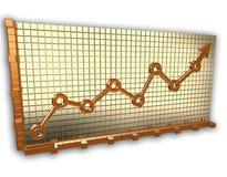 Freccia del grafico dell'oro Immagini Stock