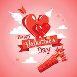 Freccia del `s del Cupid Scheda di giorno di Valentineâs Illustrazione di vettore Immagini Stock
