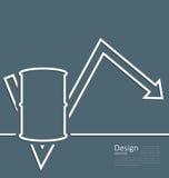 Freccia dell'illustrazione che indica l'olio dinamico di prezzi di tendenza, ro del barilotto Immagini Stock