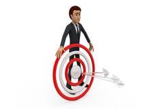 freccia dell'uomo 3d sul concetto dell'obiettivo Fotografia Stock Libera da Diritti