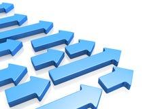 Freccia di concetto di sviluppo che indica sul giusto senso illustrazione di stock