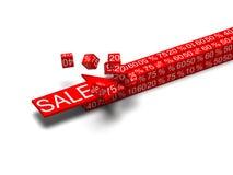 Freccia di concetto di vendita che rompe i cubi Fotografie Stock Libere da Diritti
