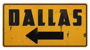 Freccia di giallo di Dallas Street Sign Grunge Metal immagine stock libera da diritti