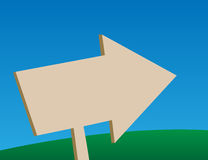 Freccia di legno che indica destra Fotografia Stock