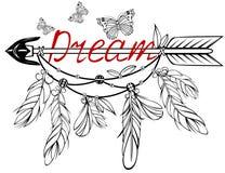 Freccia di legno con l'ornamento floreale immagine stock libera da diritti