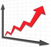 Freccia di rosso del grafico del grafico Fotografia Stock