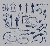 Freccia disegnata a mano Fotografie Stock Libere da Diritti