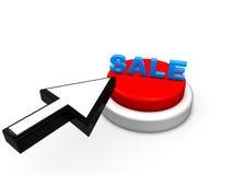 Freccia e bottone di vendita Fotografie Stock Libere da Diritti