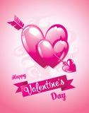 Freccia e cuori del ` s del cupido Scheda di giorno di Valentineâs Illustrazione di vettore Fotografia Stock