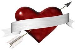 Freccia e rotolo del cuore Fotografie Stock