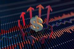 Freccia e simboli di valuta Immagine Stock Libera da Diritti