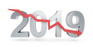 Freccia giù per 2019 su un'illustrazione bianca del fondo 3D, rappresentazione 3D Immagine Stock