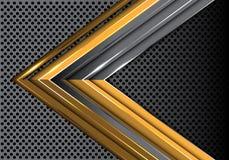 Freccia grigia dell'oro astratto sul vettore creativo futuristico moderno del fondo di progettazione della maglia del cerchio del Fotografia Stock Libera da Diritti