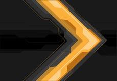 Freccia grigia gialla astratta futuristica sul vettore moderno del fondo di progettazione nera dell'insegna illustrazione vettoriale