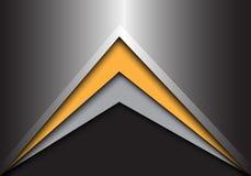 Freccia grigia gialla astratta sul vettore futuristico moderno del fondo di progettazione grigio scuro del metallo Immagine Stock