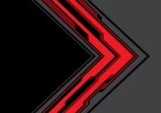 Freccia grigia rossa astratta cyber con il vettore futuristico del fondo di spazio di tecnologia moderna nera di progettazione Immagine Stock