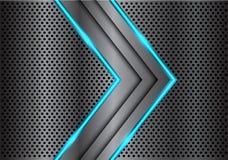 Freccia grigio scuro astratta della luce della linea blu sul vettore futuristico di lusso moderno del fondo di progettazione dell illustrazione di stock