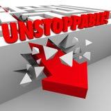 Freccia inarrestabile attraverso Maze Wall Nonstop Energy Power Fotografia Stock Libera da Diritti
