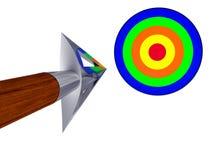 Freccia lucida che vola all'obiettivo Fotografia Stock Libera da Diritti