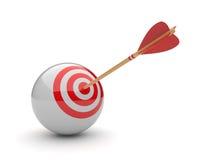 Freccia nell'obiettivo 3D della sfera. Colpire di successo Fotografia Stock