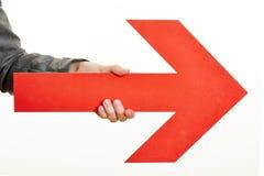 Freccia rossa che indica la destra Fotografia Stock Libera da Diritti