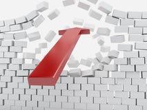 freccia rossa 3d che rompe muro di mattoni Fotografia Stock