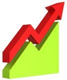 freccia rossa 3d e grafico verde su bianco isolato Immagini Stock