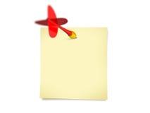 Freccia rossa del dardo e posta appiccicosa Fotografie Stock Libere da Diritti