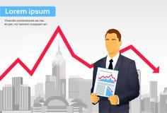 Freccia rossa di Finance Graph Crisis dell'uomo d'affari giù illustrazione di stock