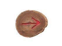 Freccia rossa di legno alla destra Immagine Stock