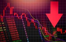 Freccia rossa di prezzo di mercato di crisi delle azione giù la caduta del grafico/l'analisi di mercato borsa valori o il grafico royalty illustrazione gratis