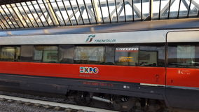 Freccia rossa train to Expo 2015 Milan italy Royalty Free Stock Images