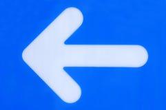 Freccia sinistra blu Fotografia Stock