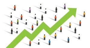 Freccia su intorno della gente della folla di affari del grafico di aumento all'investimento di economia insieme illustrazione di stock
