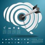 Freccia sul cervello dell'obiettivo con l'icona di affari Fotografia Stock