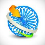 Freccia tricolore intorno a Ashoka Chakra Fotografia Stock Libera da Diritti
