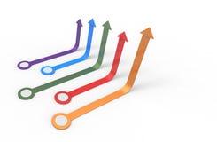 Freccia variopinta Concetto crescente di affari Immagine Stock