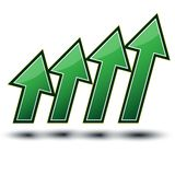 Freccia verde 4 che cresce fino alla CIMA Fotografie Stock
