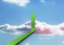 Freccia verde che indica su Immagine Stock