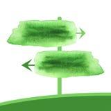 Freccia verde dell'acquerello due Insegna della molla del puntatore di vettore in acquerello Immagini Stock Libere da Diritti