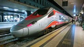 Frecciarossa. A high speed italian train frecciarossa in the termini railway station of rome in italy Stock Photo