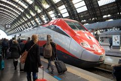 Frecciarossa train. Is a train of Trenitalia spa. This trains connecting Turin-Milan-Bologna-Rome-Naples-Salerno on the high speed line. The trains reach the Royalty Free Stock Photography