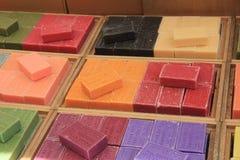 Frech soap at a market stall Stock Photos