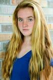 Freckled крупный план девушки Стоковые Фотографии RF