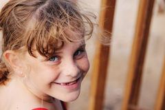 Freckled cute girl Royalty Free Stock Image