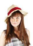 Freckled girl in hat Stock Images