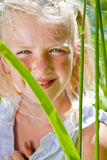 Freckled girl looks out from behind the leaves Stock Image